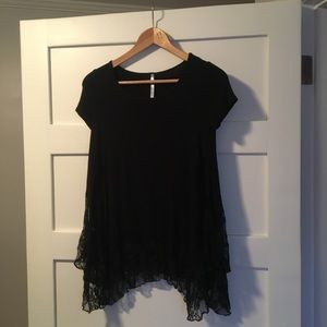 Tops - Boutique Swingy lace edged black top size S